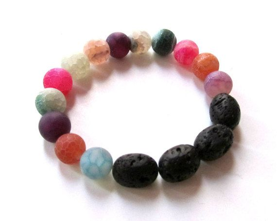 Gemstone bracelet-Frosted agate by PlanetEarthHandmade on Etsy