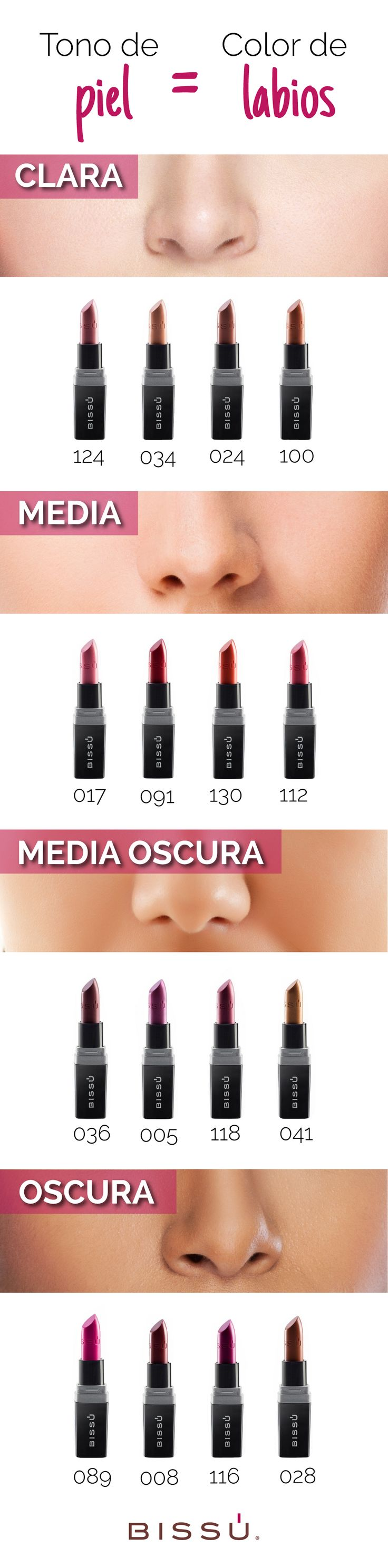 Esta guía te ayudará a tener el tono ideal en tus labios. http://tiendaweb.bissu.com/labios/12-labial-humectante.html