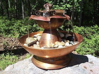 Blossom Fountain in Waxed Copper - dimensions 8