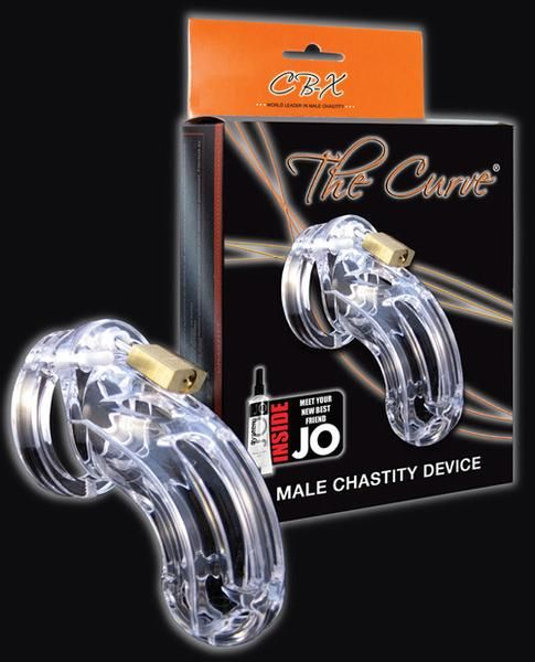 "Cb-6000 3 3-4"" Curved Cock Cage And Lock Set - Clear"