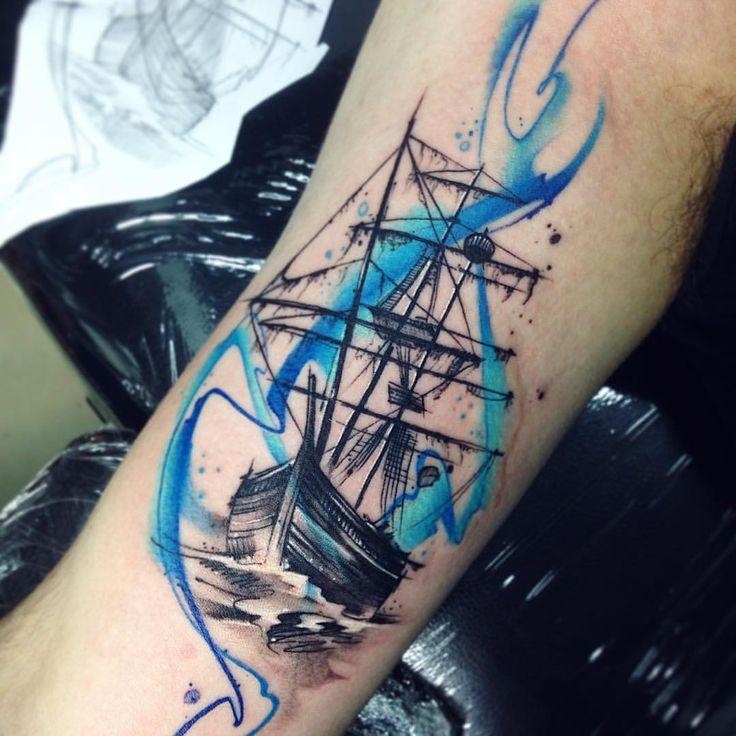 Pirat AB #tattoo #tatuaje #pirateship #ship #aquarelle #watercolor #mar #ab #pirata #barcopirata