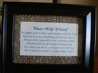 The little sign that goes with the basket for the guest room.  Perfect!