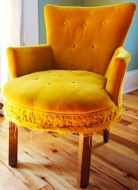I Love You, Yellow Velvet Chair