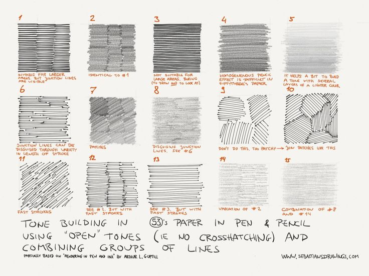 Tone building cheat sheet, using the pen and pencil tool in Fiftythree's Paper. These are (mostly) homogeneous tones (no gradient), ma...