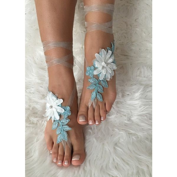 FREE SHIP Blue ivory 3D flowers lace barefoot sandals, beach wedding... ($30) ❤ liked on Polyvore featuring shoes, sandals, bridal wedding shoes, beach wedding shoes, bridal sandals, evening bridal shoes and beach sandals