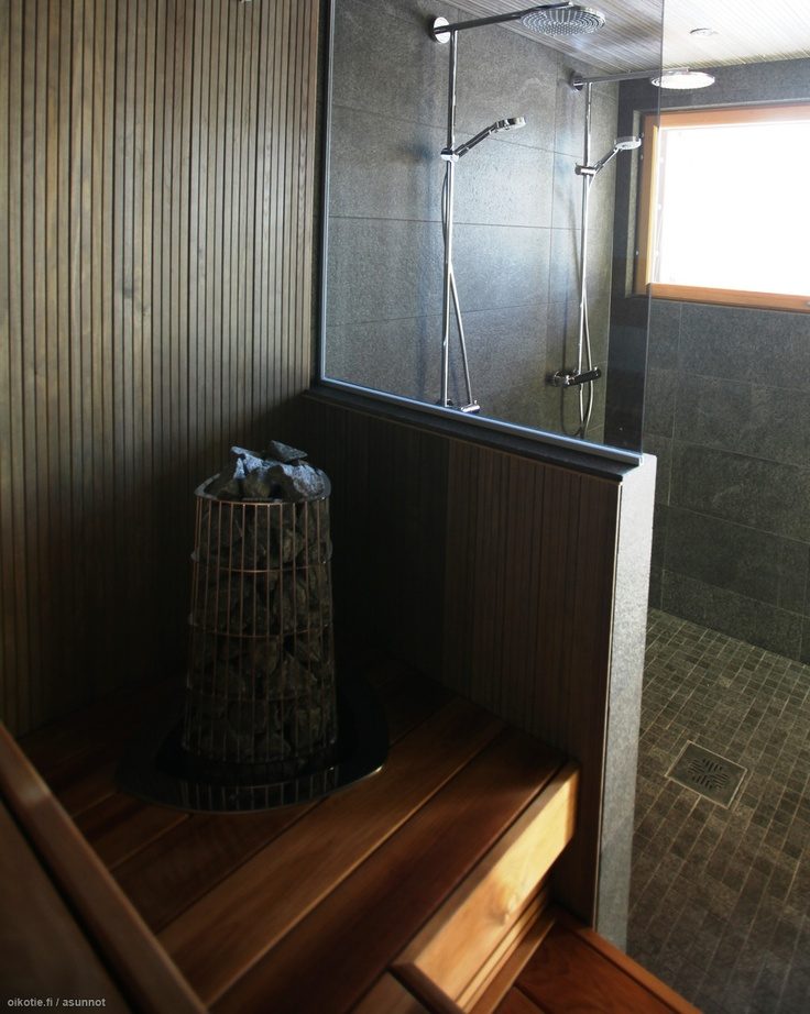 Sauna, jossa lasiseinä