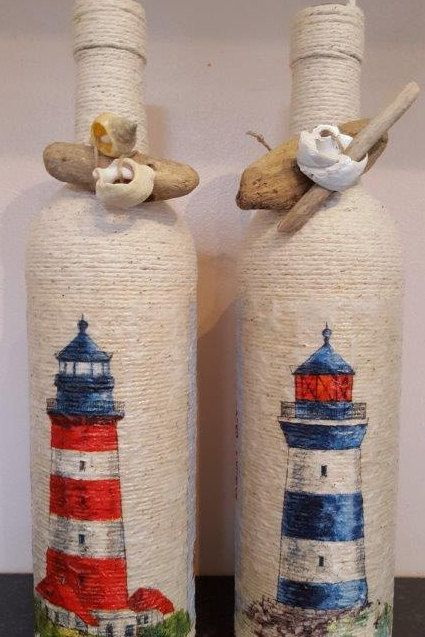 Decoupaged Lighthouse Twine Bottles by ArgyllHandmadeGifts on Etsy
