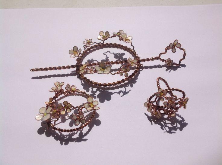Hair pin, ring and brooch