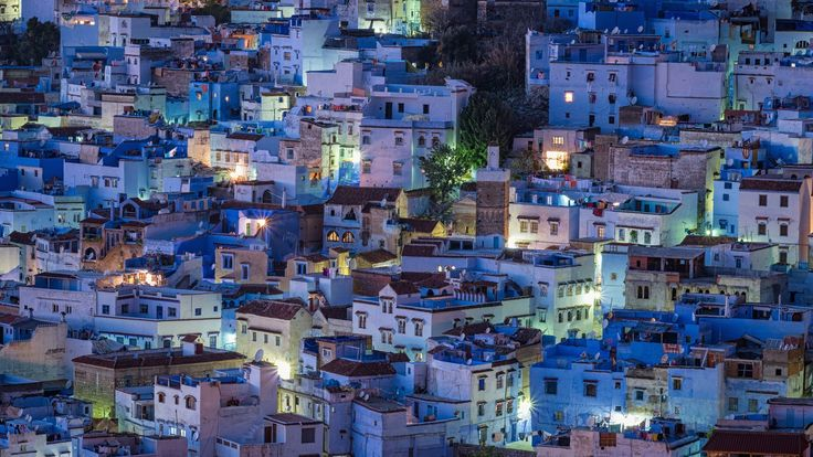 Chefchaouen. It's said that Jewish refugees in the 1930s brought the blue color to this town in Morocco to symbolize heaven