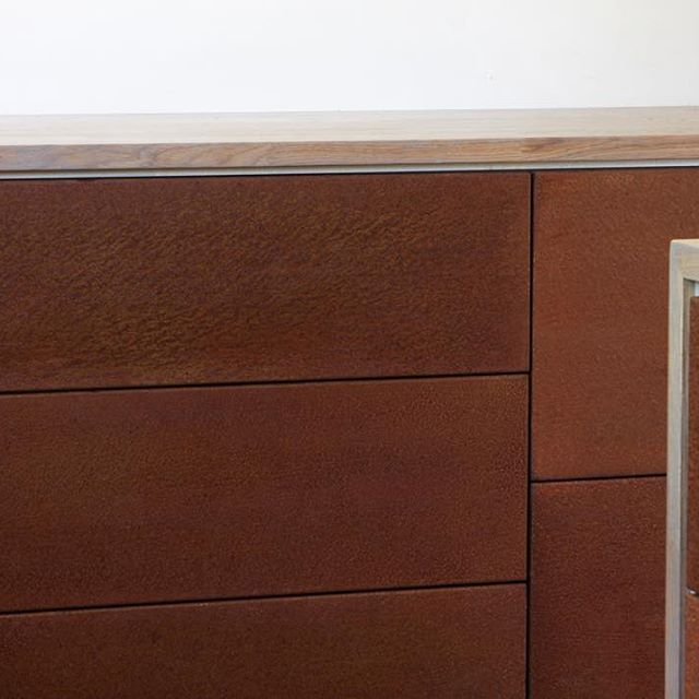 Detail of our most recent kitchen in #corten steel and silvered #oak
