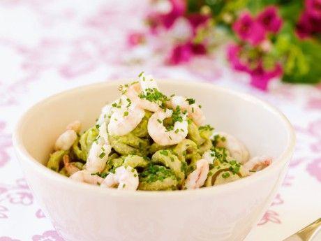 Fullkornspasta med räkor och avokado – Allt om Mat
