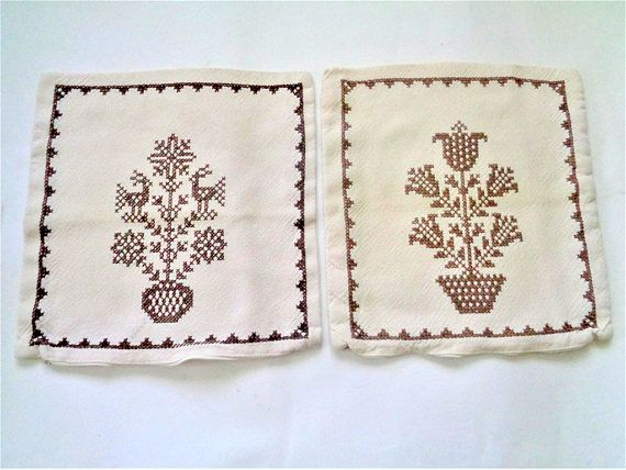 Embroidered Pillow Cases SCANDINAVIAN CHRISTMAS TREE Swedish