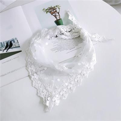Triangle Lace Face Hair Head Wrap Scarf Women Accessories Neck Decoration Neckwear Handkerchief Headband Shawl Scarves Color White Size 33CMx85CM   – Products
