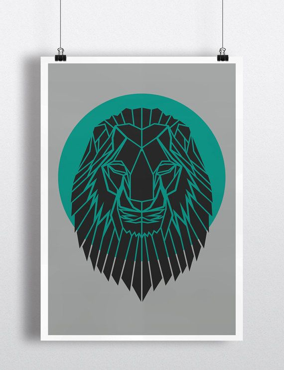 Art Print, Geometric Lion Head Print, Cool Gray Lion Head Art, Teal Circle,Safari Art, Nursery Art, Animal Art