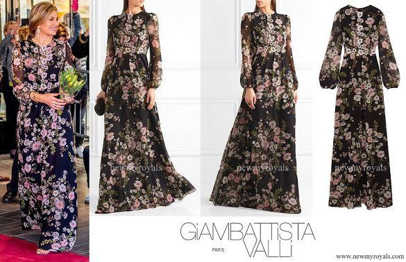 GIAMBATTISTA VALLI Appliquéd floral print silk georgette gown