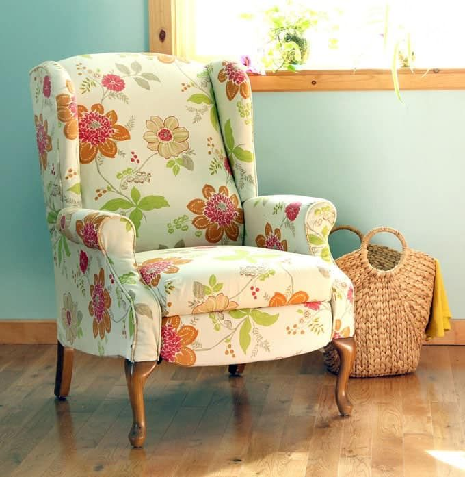 How to Paint Upholstery: Old Fabric Chair Gets Beautiful New Life