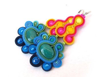 Rainbow Dangle Earrings , Colorful Soutache Earrings , Handmade Beaded Jewelry, Rainbow Earrings, Colorful Earrings, Dangle Earrings    These rainbow earrings were created using the very intricate technique of soutache. Soutache Embroidery is a type of advanced bead embroidery in wich I use viscose cords and beads to create truly unique jewelry.  These colorful dangle earrings were made using the soutache technique and glass beads,braiding,plated findings,turquoise. These earrings would pair…