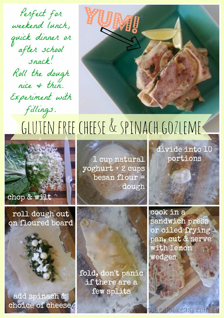 Cheese & spinach gluten free gozleme.  Perfect for #lunch after school #snack or light #dinner.  They are very simple and you can mess around with whatever fillings you might like!  #vegetarian #gozleme #glutenfree