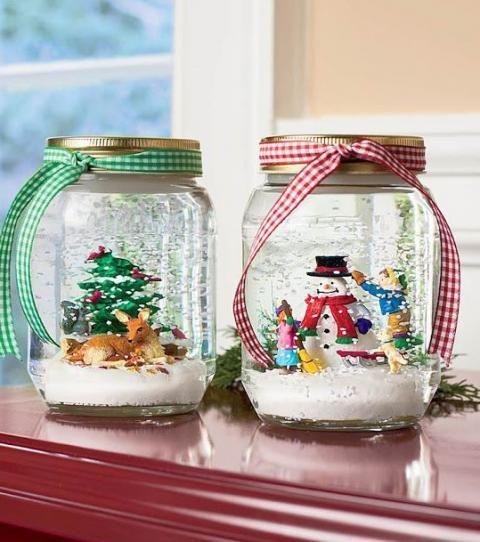 Aprende A Decorar Frascos De Vidrio Para Navidad Mason Jar Christmas Crafts Christmas Snow Globes Diy Christmas Jars