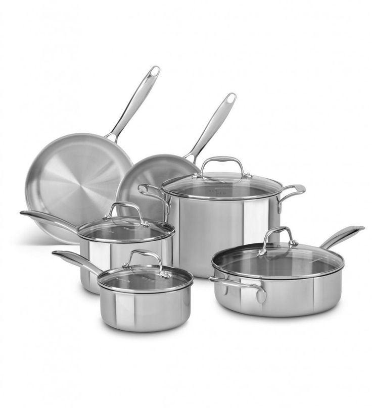 Kitchen Aid Tri Ply 10 Piece Set Stainless Steel Design