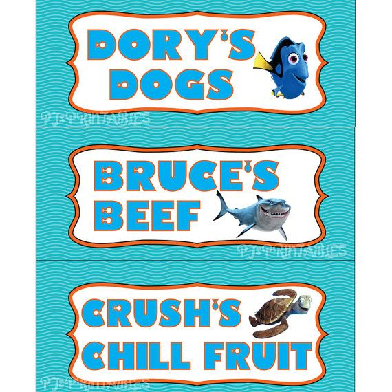 Finding Nemo themed Food Sign Tent Cards by PJsPrintables on Etsy, $2.50