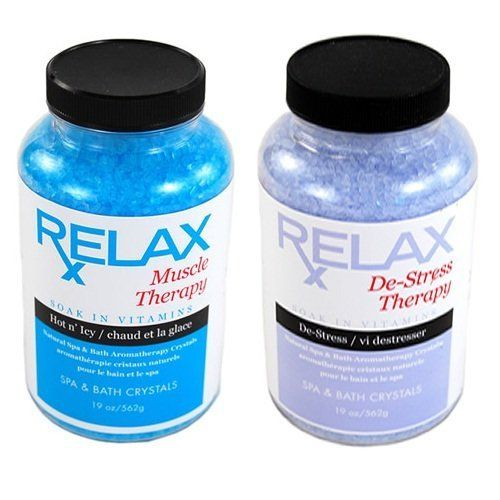 Muscle & Stress Therapy Rx Aromatherapy Bath Salts -19 Oz Bottles- Soak Aches, Pains & Stress Relief for Spa, Bathtub, Hot Tub by Relax Spa & Bath. $26.95. Does Not Affect the pH or Water Chemistry - Safe for Children & Pets - Will Not Damage, Stain or Affect Equipment or Surface. Remedy for Aches & Pains - Reduce Tension & Stress - Enhance Self-Healing & Detoxify. Powerful Aromatherapy with Natural Coloring - Enhances Relaxation - Vitamin Enfused. Skin Softenin...