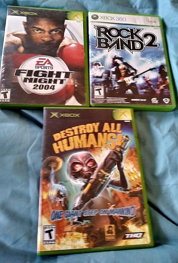 Lot of 3 Microsoft Xbox Games Destroy All Humans! , Fight Night, Rock Band 2  #Xbox