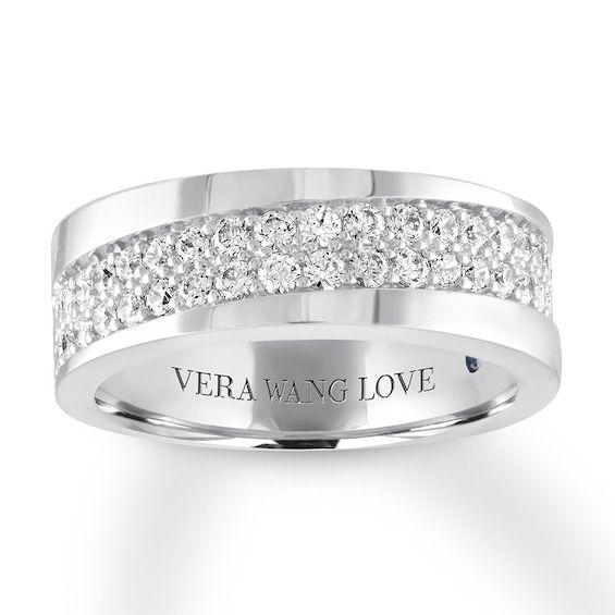 Vera Wang Love Men S Band 1 Ct Tw Diamonds 14k White Gold Jared Mens Diamond Wedding Bands White Gold Band Diamond Wedding Bands