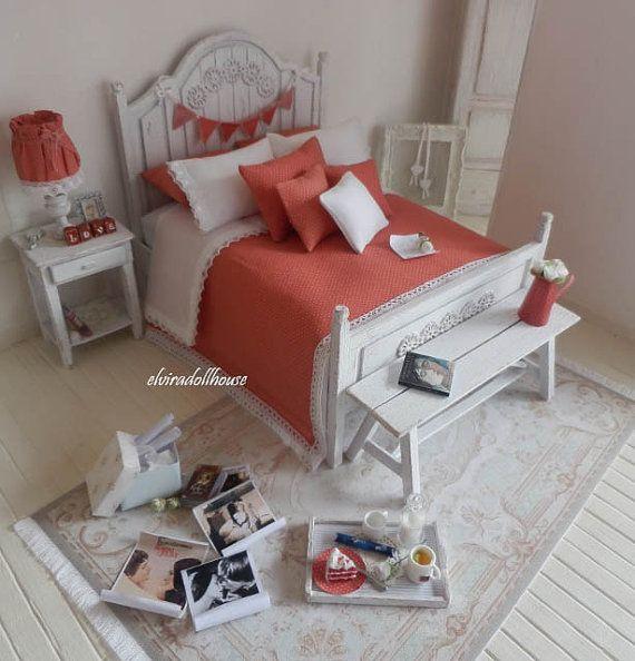 Romantic Shabby Style Double Bed Dollhouse by elviradollhouse