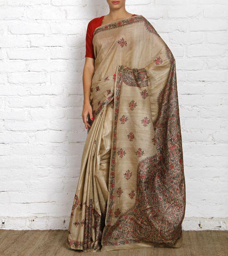 Beige Tussar Silk Saree with Madhubani   Vivarang