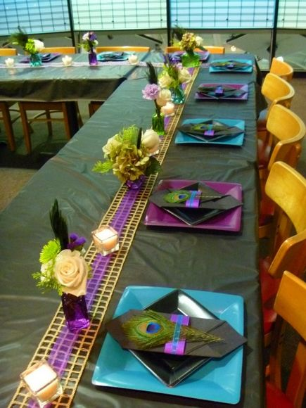 Peacock Feather Theme table settings @Kelly Snaman