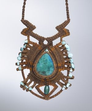 Macrame Necklace with Chrysocolla and Turquoise Stones by Coco Paniora Salinas