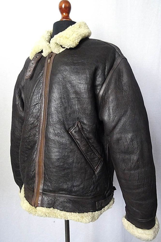 Vintage Sheepskin Shearling B3 Bomber Jacket Flying Pilot Aviator Coat 44R KB116