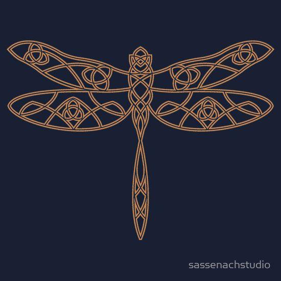 Celtic Dragonfly in Amber - Design by Rachel Bertrand - Buy here!