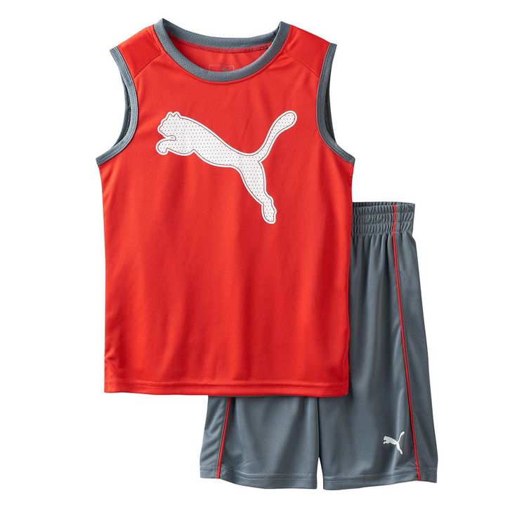 Toddler Boy PUMA Graphic Performance Tank Top & Shorts Set, Size: 4T, Med Grey