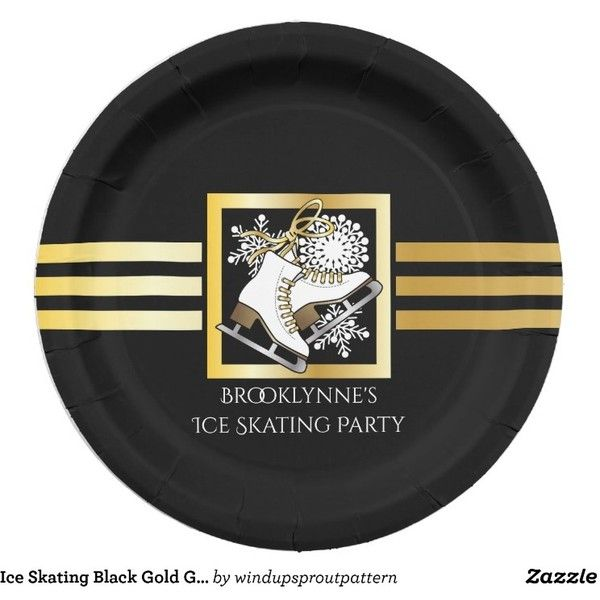 Ice Skating Black Gold Girly Modern Holiday Paper Plate ❤ liked on Polyvore featuring home, kitchen & dining, dinnerware, ice skates, party supplies, black dinnerware, modern plates, modern paper plates, holiday plates and gold paper plates