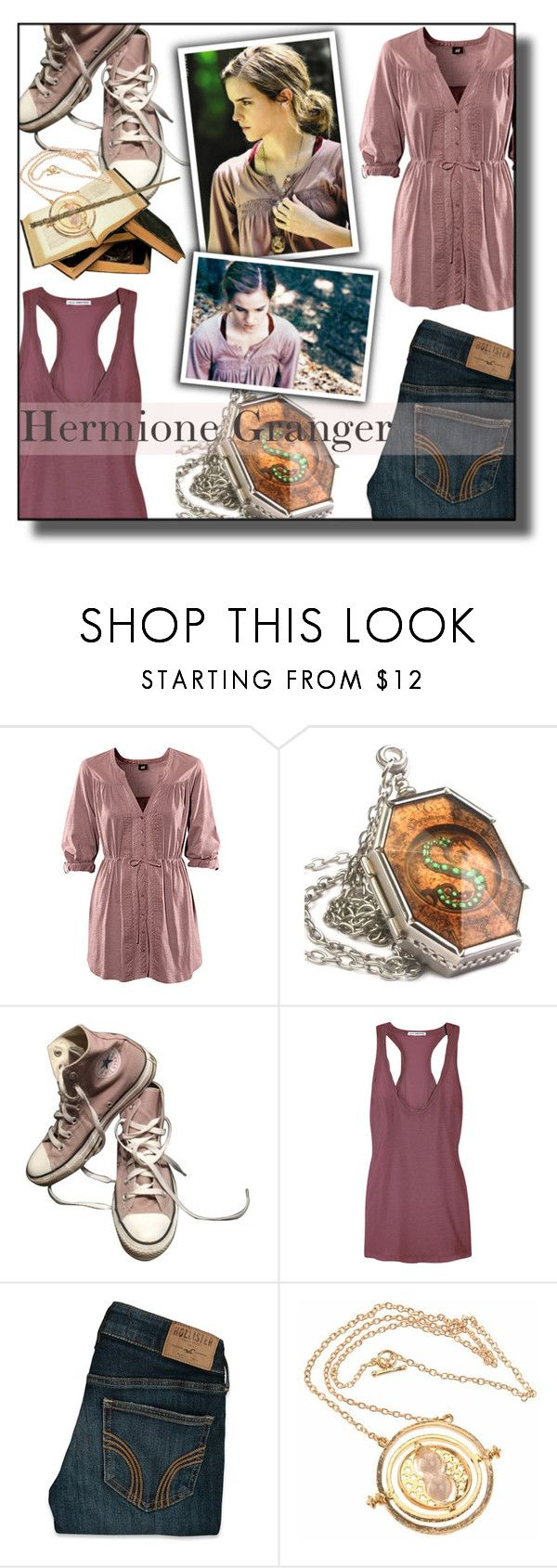 """""""""""We must all face the choice between what is right and what is easy."""" #Hermione Granger"""" by asiyaoves ❤ liked on Polyvore featuring H&M, Converse, James Perse and Hollister Co."""