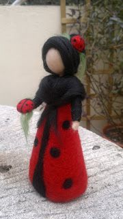 Ladybug Fairy Waldorf inspired, Soft sculpture Needle Felted Wool