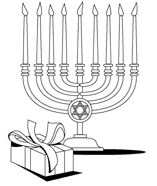 Chanukah Menorah And Gifts At The Time Of Chanukah Coloring