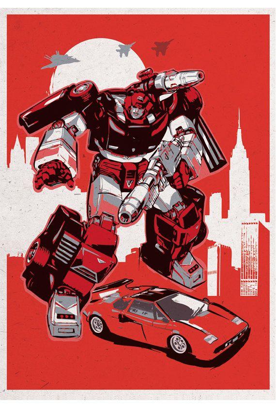 Retro Transformers poster set Original Prints    4 POSTERS:    * Optimus Prime (Peterbilt truck)    * Bumblebee (Retro VW beetle car)    * Jazz