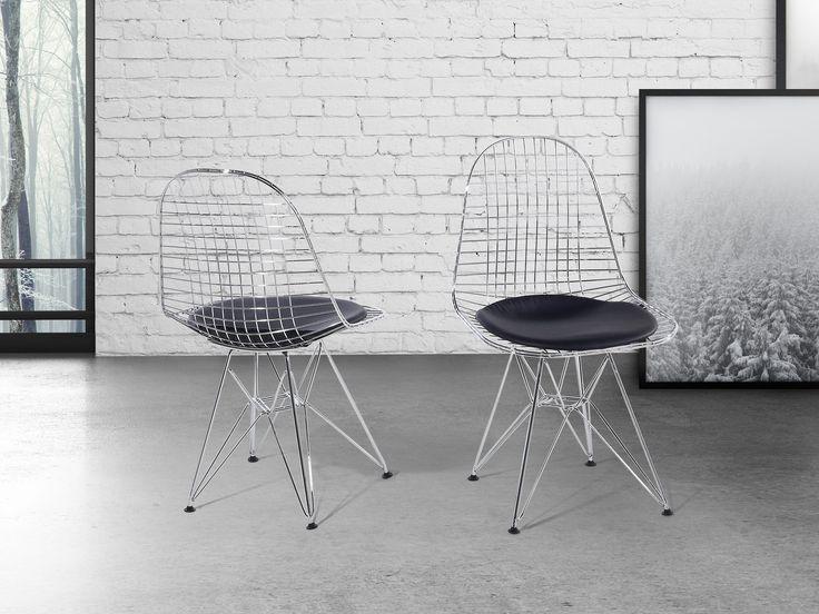 Krzesło srebrnoczarne - do jadalni - do kuchni - chromowane - MULBERRY