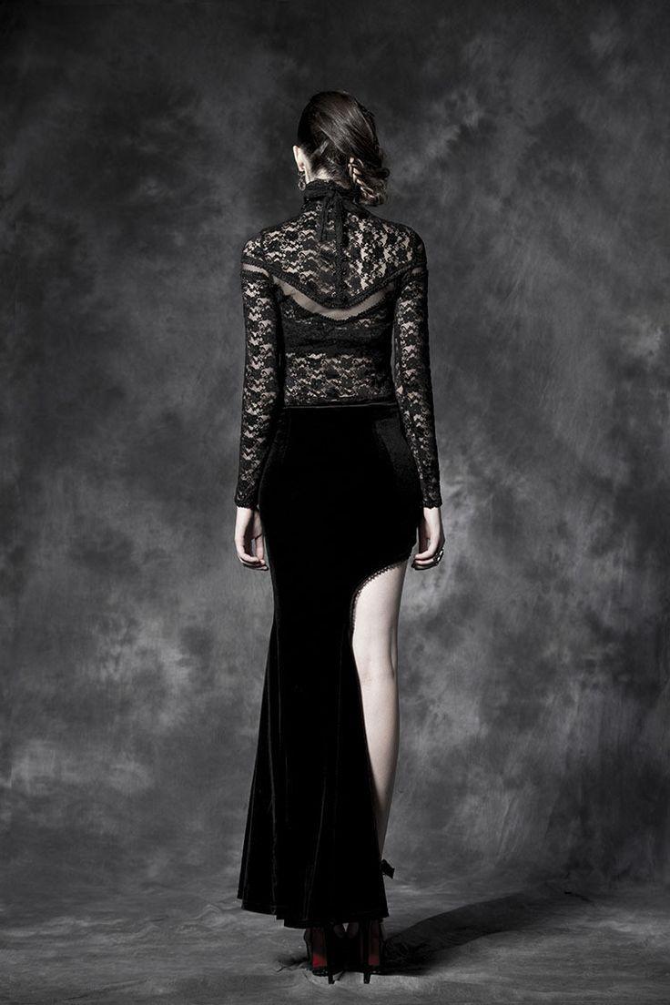 Punk rave Long Skirt y Novelty Black Gothic