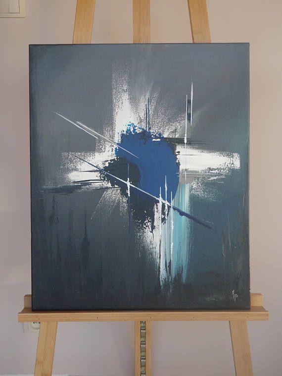 Tableau Abstrait Gris Sombre Tableau Abstrait Art Abstrait Art