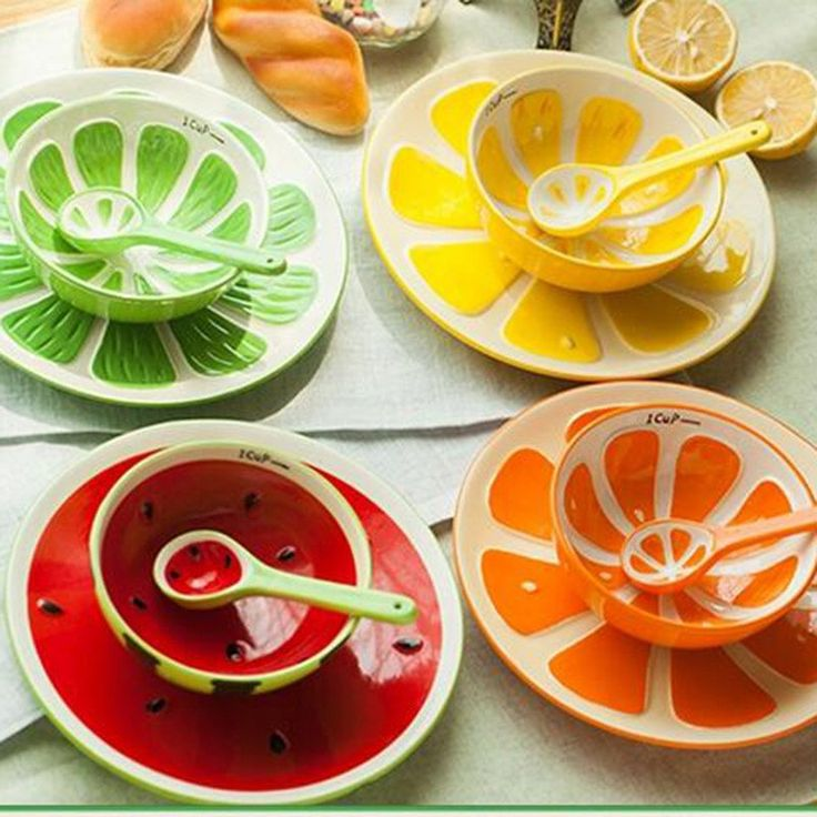 Eat your fruit in a fruit! Each set consists of a bowl, plate and spoon - everything you need for your 5 a day! Each is hand painted for a unique look.