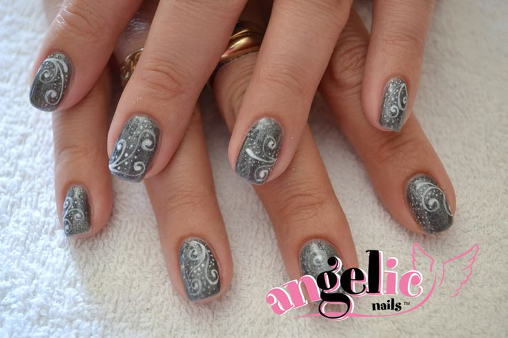 Silver Christmas Nail Art  #gelnails #handpainted #nailart