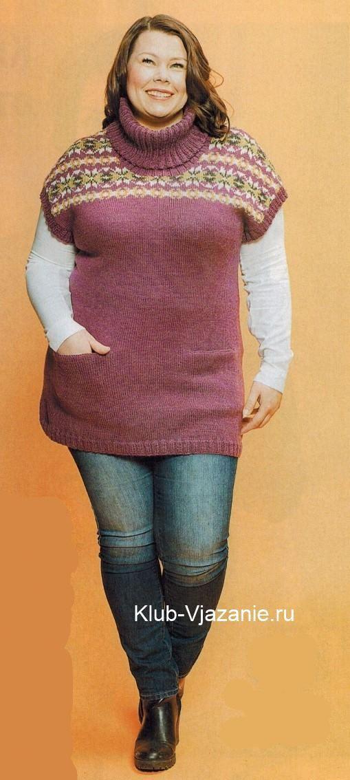 Вязаная туника спицами для полных женщин  Источник: http://klub-vjazanie.ru/spicami/tuniki-sarafany-platja/tunika-dlja-polnyh-zhenshhin.html