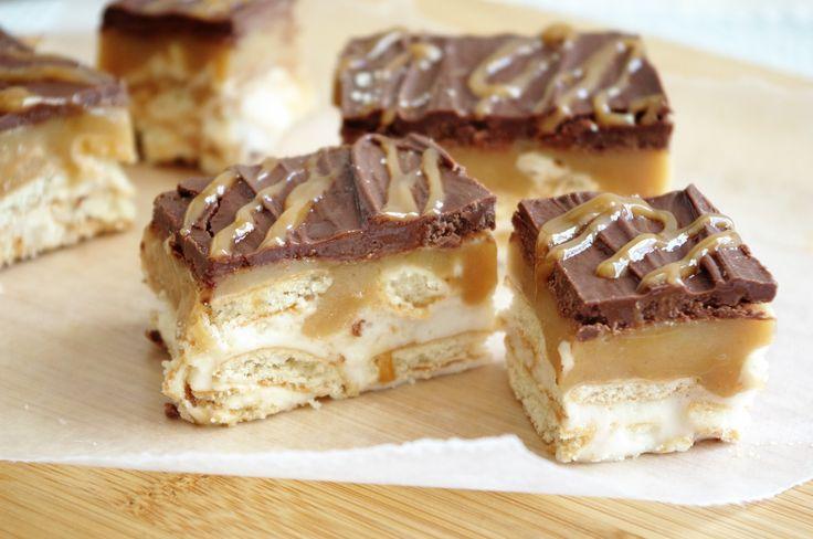 Twixie Bars No Bake Treats Recipe - Milk Chocolate Caramel Nilla Wafers Cookies Layered and NO BAKE - So Yummy