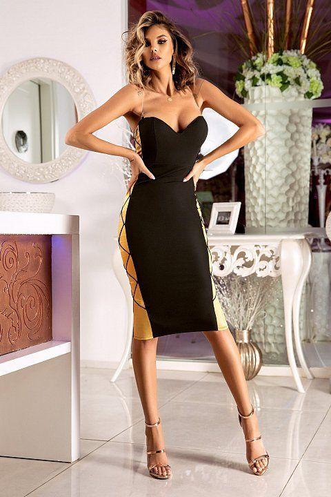 new products de4ab 6296c Tubino longuette elegante di colore nero con inserto di ...