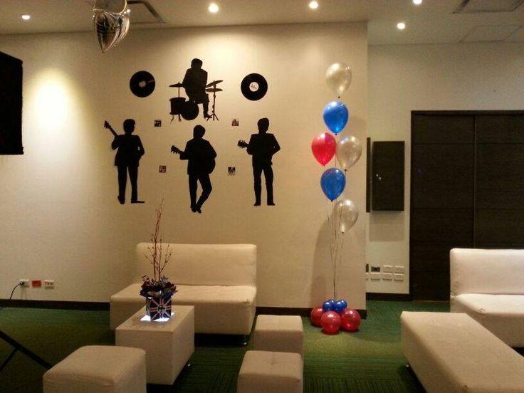 siluetas y centros de mesa  fiesta The Beatles
