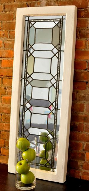 Vintage Decorative Wall Mirror Repurposed Leaded Glass